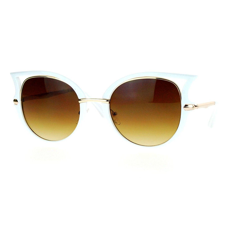 a6a331b858 Womens Retro Unique Bat Shape Horn Rim Round Oval Sunglasses - White ...