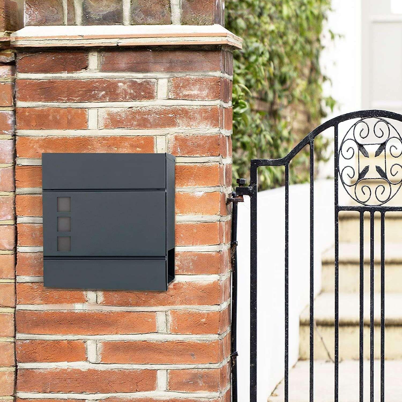 SONGMICS Mailbox with newspaper holder, 37 x 10.5 x 37 cm, anthracite …