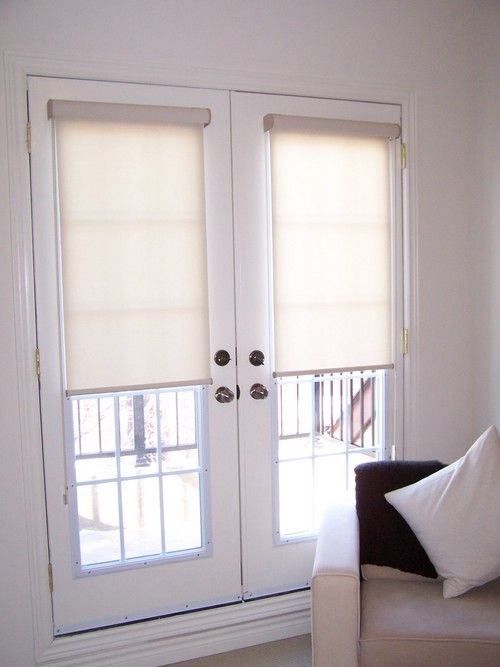 roller shades with cassettes on french doors french. Black Bedroom Furniture Sets. Home Design Ideas