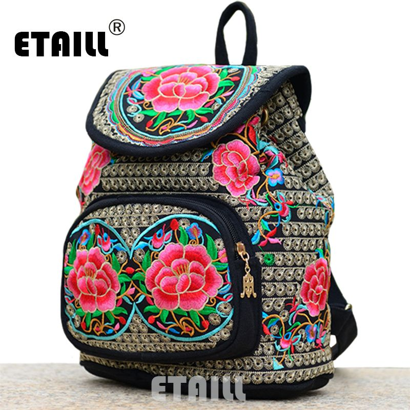 01660fd86907 National Trend Ethnic Canvas Embroidery Backpack Women Handmade Boho ...