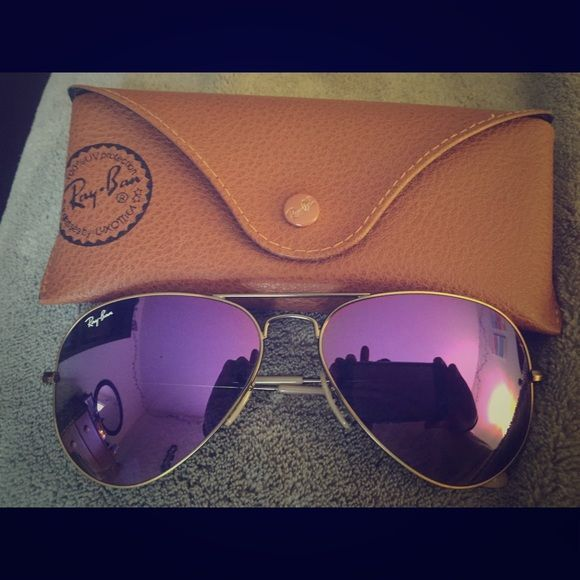 71bf3d5e2c2 Ray-Ban Aviator Violet Flash Lenses Worn once