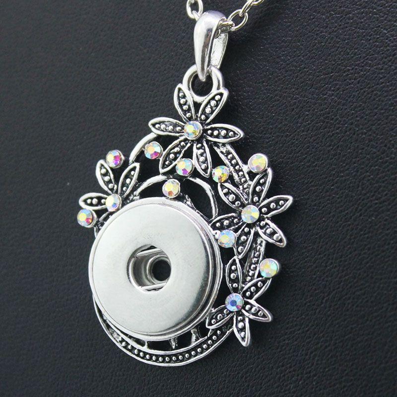 2 colori 2016 Della Boemia di Cristallo 18mm pulsante a scatto in metallo pendant & Necklace NE455 guarda le donne one direction monili etnici