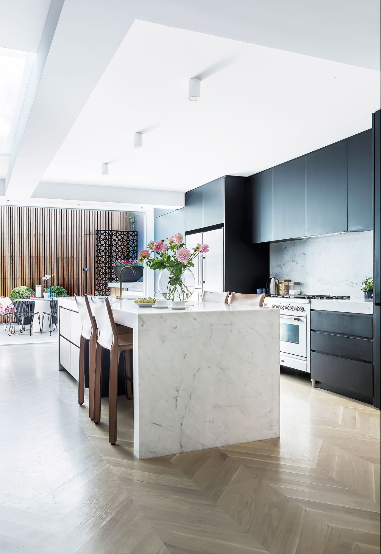 White Kitchen Black Benchtop black poly kitchen cabinets, white marble island benchtop with