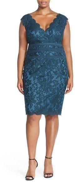 Plus Size Women's Tadashi Shoji Embroidered Lace Sheath Dress