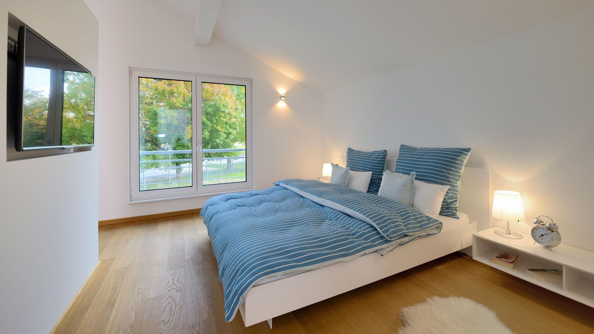 Schlafzimmer Im Musterhaus Ulm Fertighaus Satteldach Bedroom