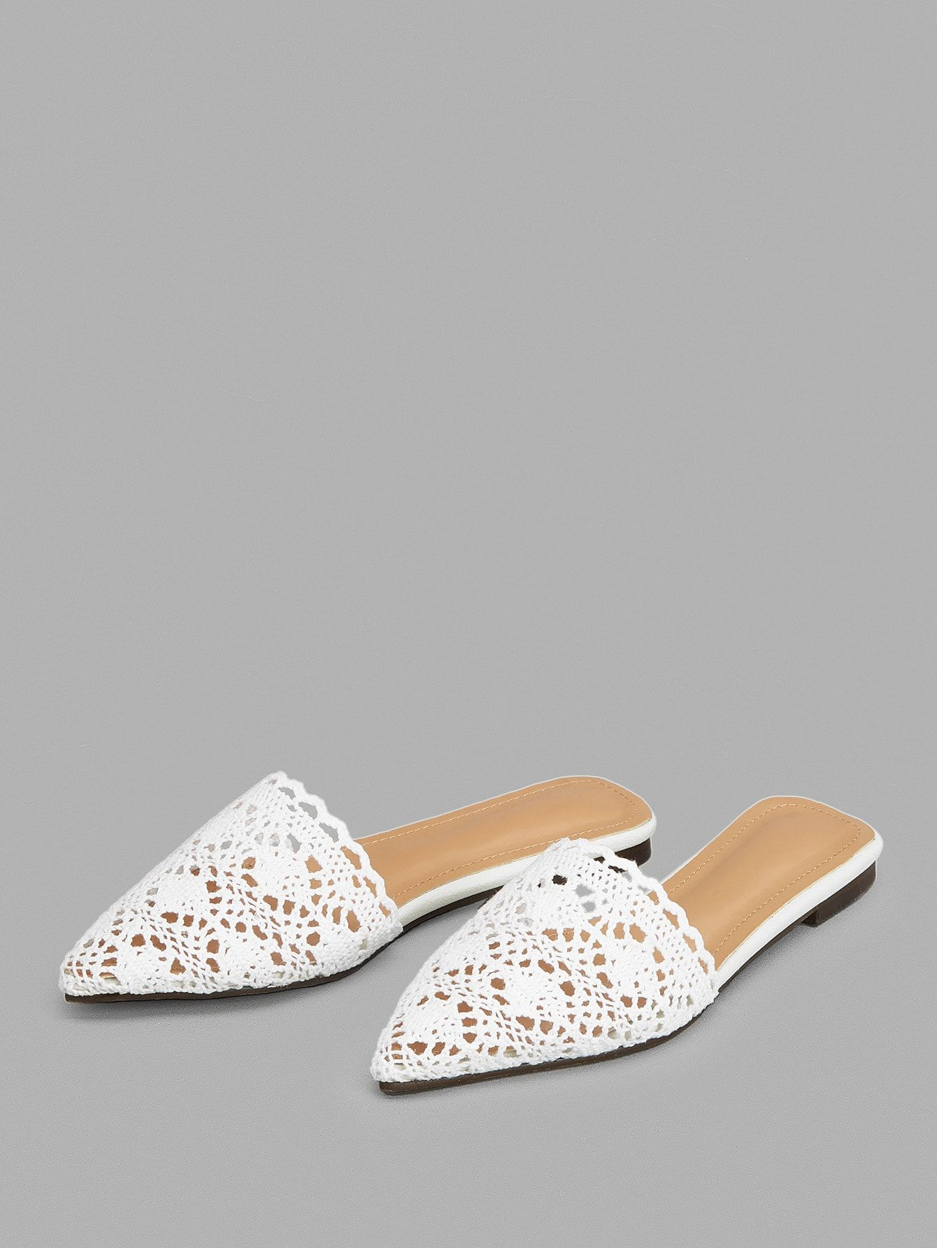 ce2be4a0341 Casual Point Toe Plain White Lace Crochet Flat Mules in 2019