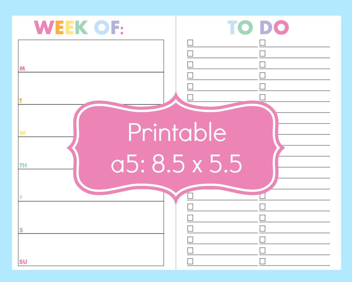 New To Commandcenter On Etsy Half Size Planner Printables To Do List Printable A5 Planner Pages