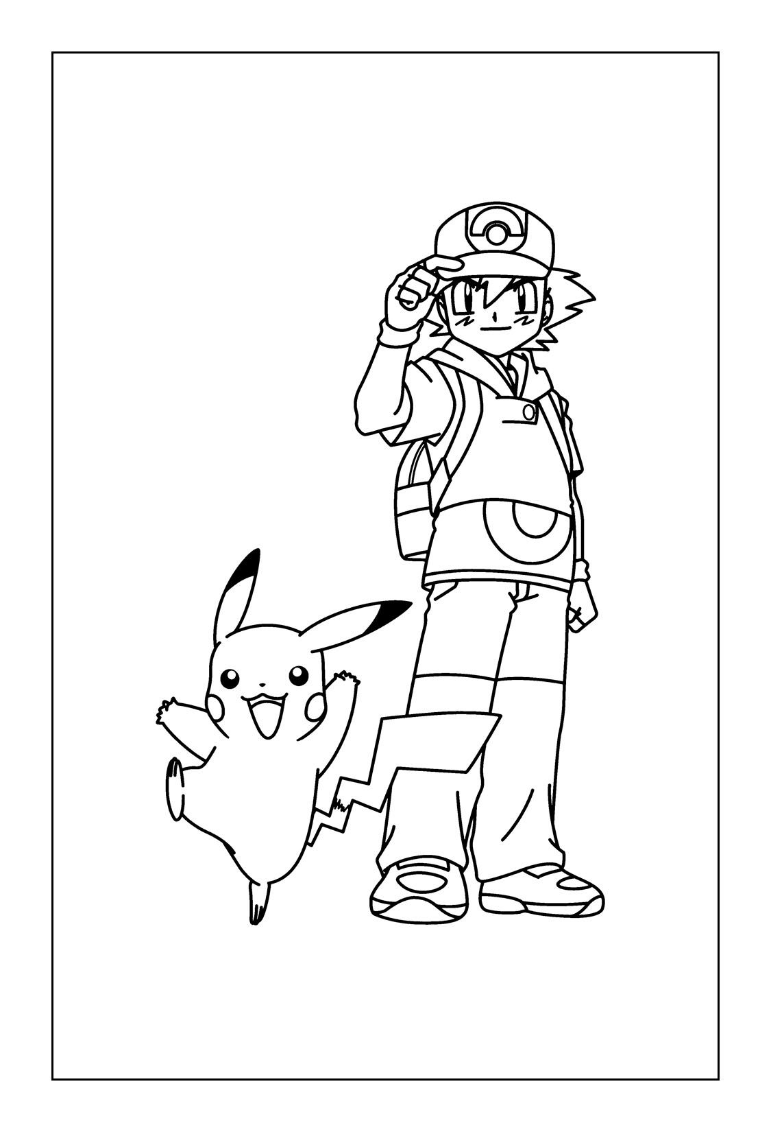 Free Printable Pikachu Coloring Pages Ash And Pikachu Pikachu Coloring Page Pokemon Coloring Pages Pokemon Coloring