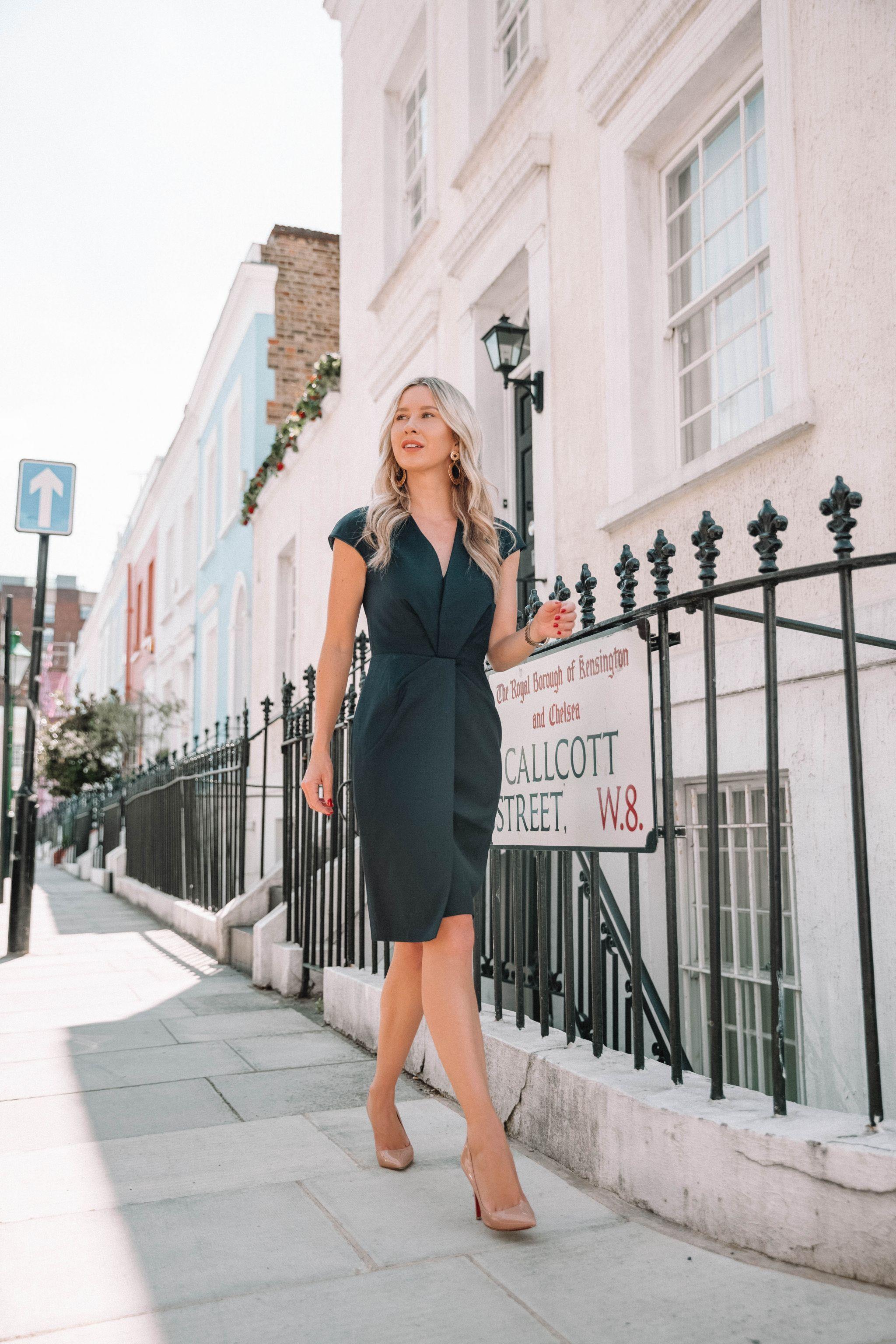 de0c661883 she goes wear reiss navy fenton tailored dress blue pencil dress london  workwear office style officewear fashion blogger steve madden nude heels