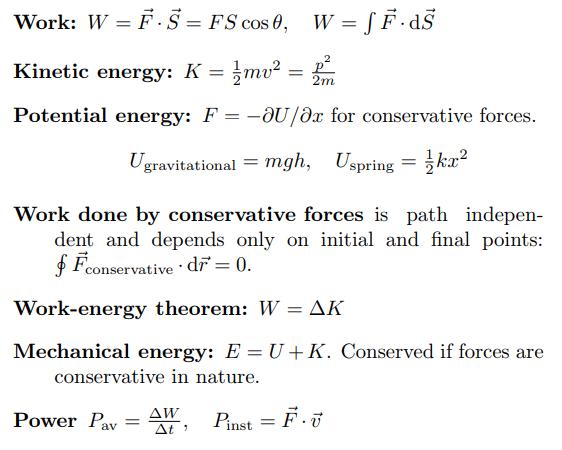 Work Power And Energy Physics Formulas Work Energy And Power Physics Formulas List
