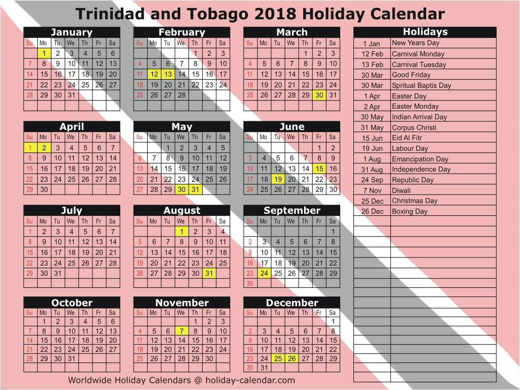 Trinidad And Tobago 2019 2020 Holiday Calendar Holiday