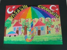 Istanbul Fatih Ilkokulu 29 Ekim Cumhuriyet Bayrami Konulu Resim Yarismasinda Ilce Birincisi Olduk Cizim Defterleri Resim Gorsel Sanatlar