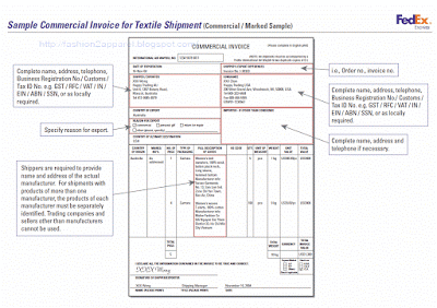 Commercial Invoice For Textile Shipment  Apparel Merchandising