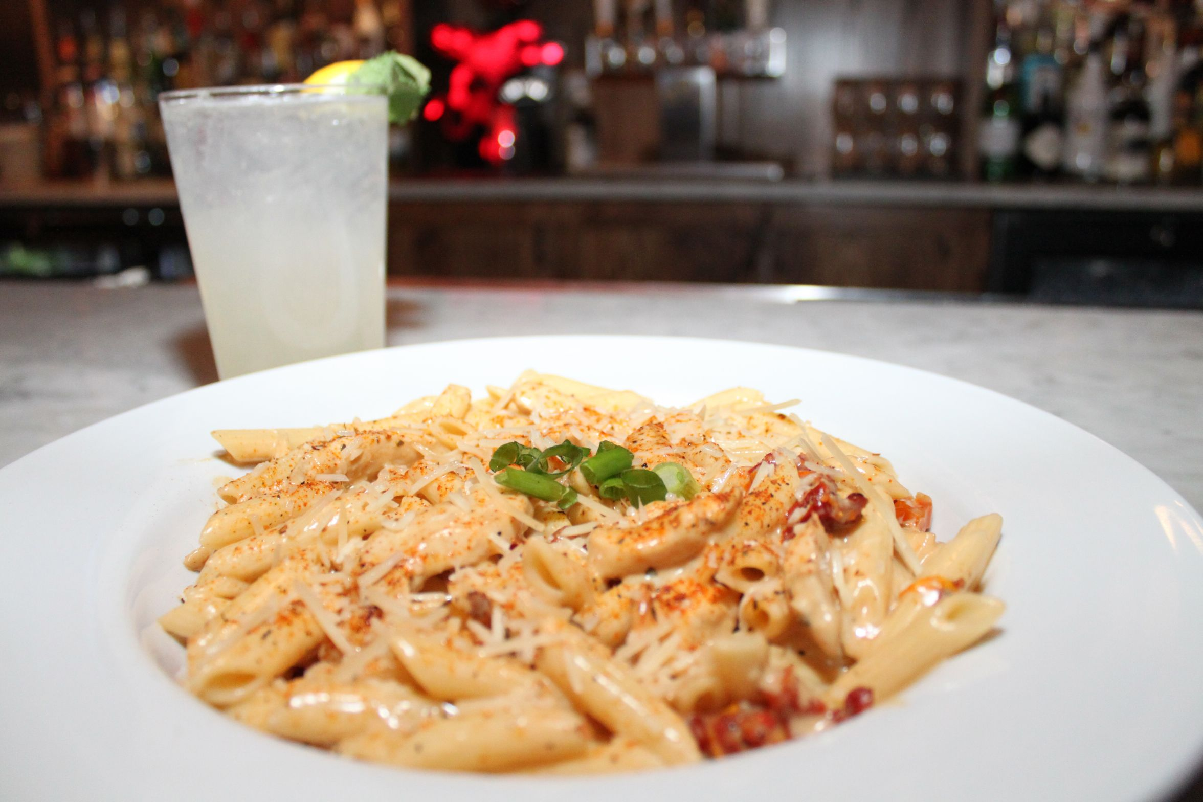 Yes, Guy Fieri's Mount Pocono Kitchen does pasta too! Try this Cajun Chicken Alfredo dish with a North Carolina Spritzer!