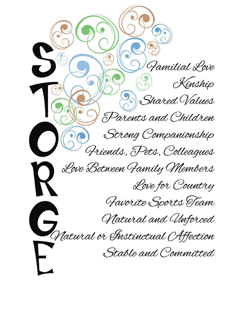 Storge Greek For Familial Love One Of The Greek Words For The Different Kinds Of Love