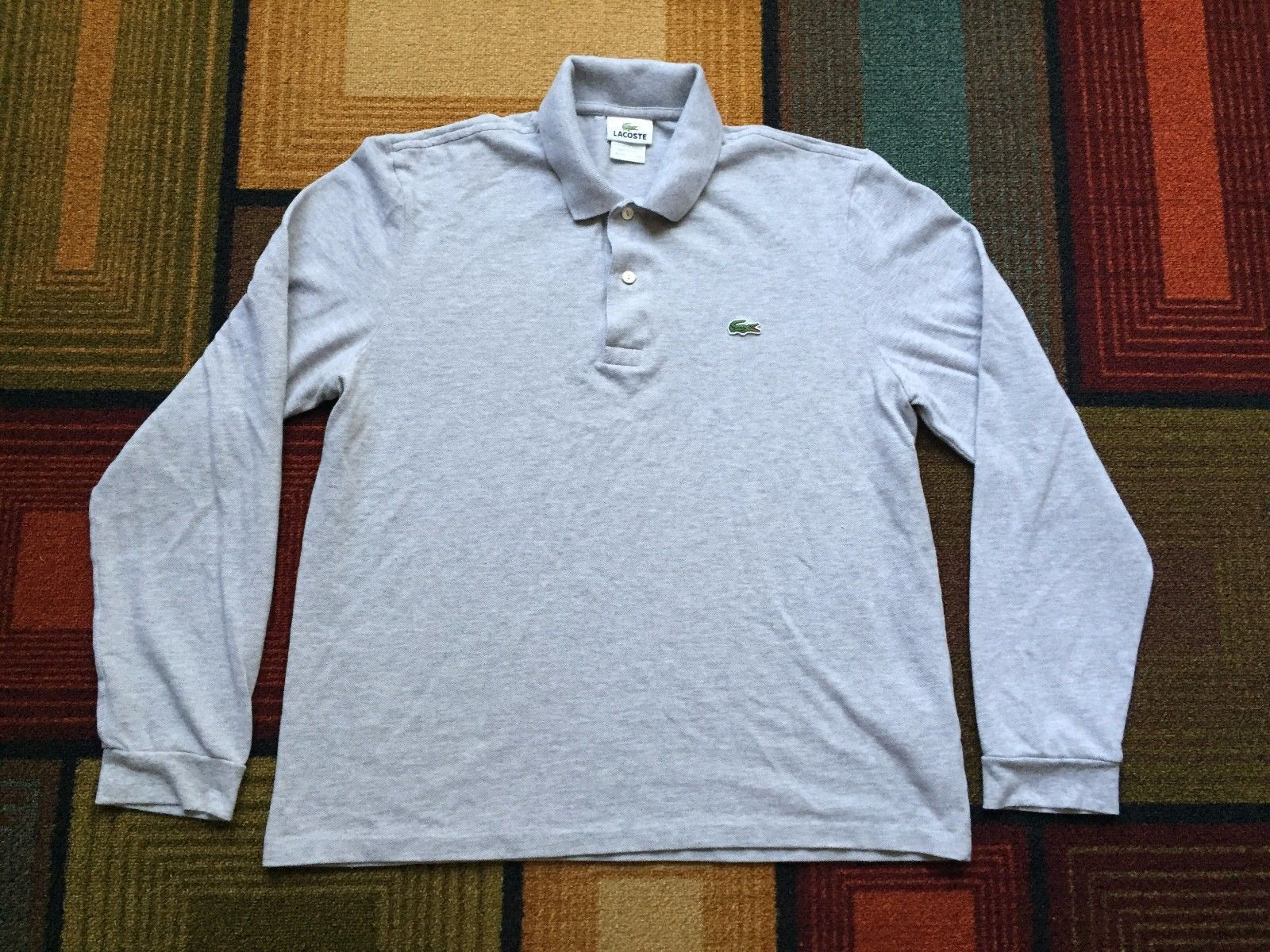 Mens lacoste polo shirt long sleeve gator logo sz 5 medium gray mens lacoste polo shirt long sleeve gator logo sz 5 medium gray pique croc sciox Images