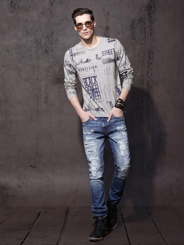 25eeeb71 Roadster Men Grey Melange Printed Round Neck T-shirt   Men's T-Shirt ...
