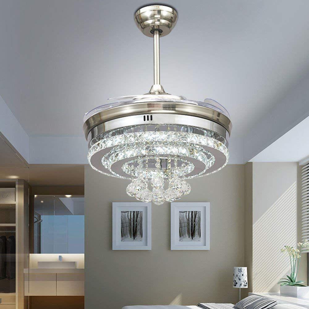 Glamorous 2 In 1 Chandelier Ceiling Fan Chandelier Bedroom Ceiling Fan Light Ceiling Fan Light Kit