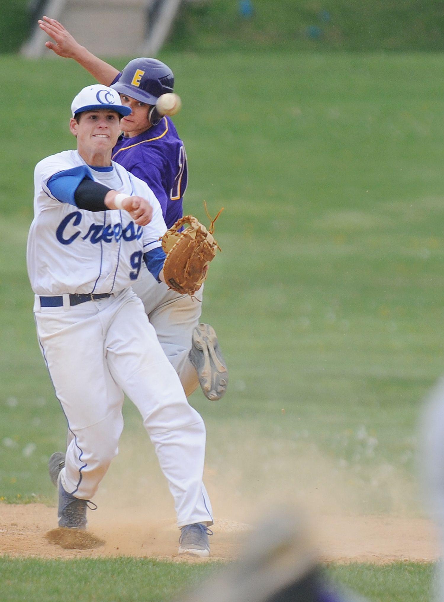 After Making A Play At First Cedar Crest S Garrett Getz Throws The Ball To Home During The Game Against Eph High School Sports High School Baseball Cedar Crest