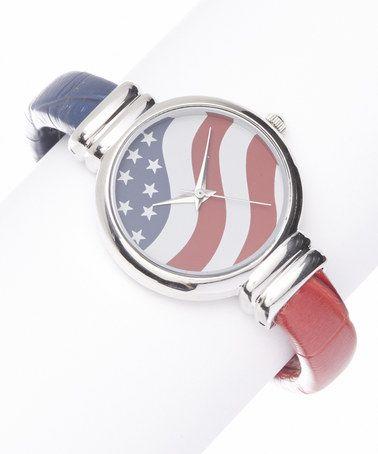 Look at this #zulilyfind! Red, White & Blue Stars & Stripes Cuff Watch #zulilyfinds
