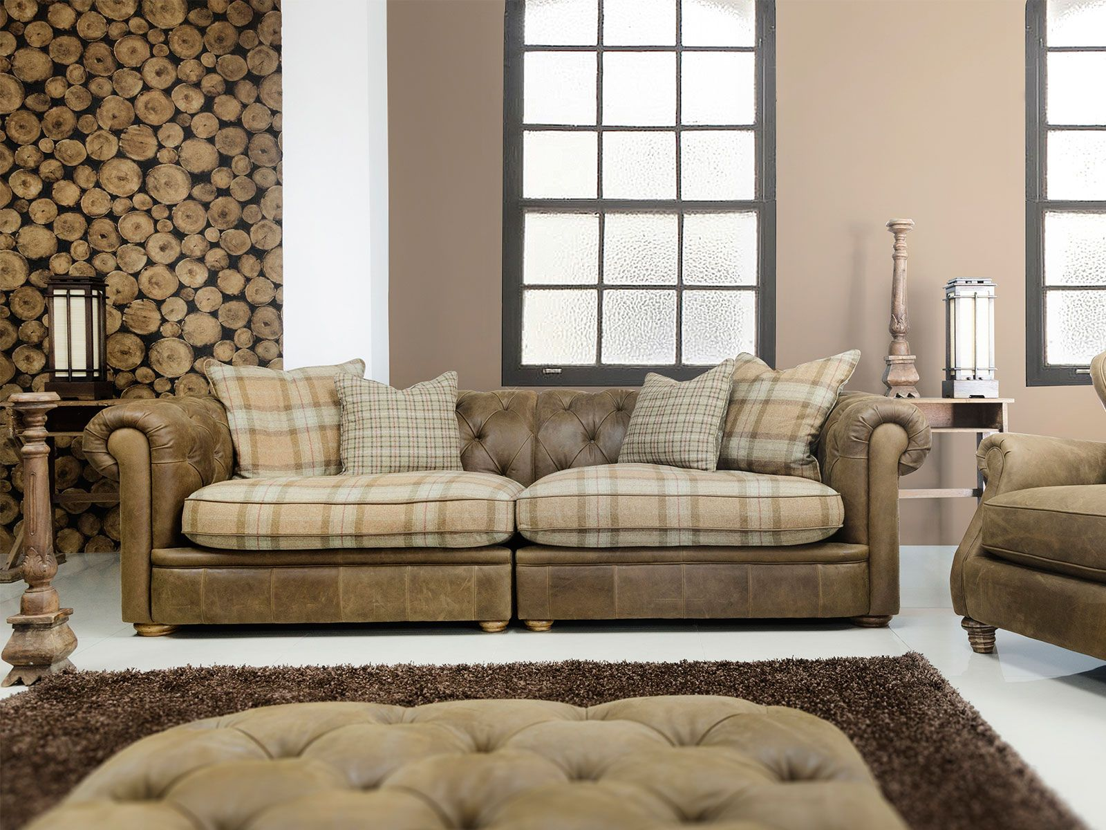Soft Vintage Looking Leather And Plaid Fabric Combination Chesterfield Style Sofa