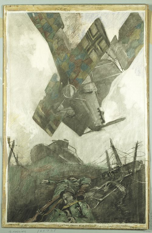 George matthews harding boche plane falling in no mans land of boche plane falling in no mans land of verdun offensive wwi publicscrutiny Image collections