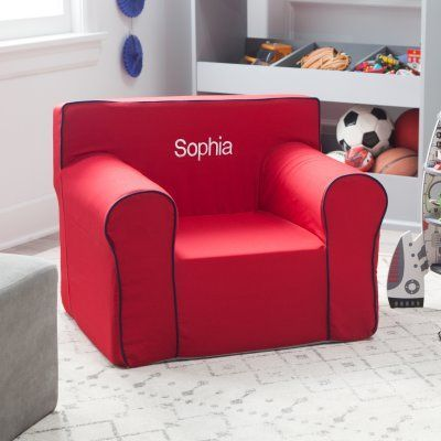 Here and There Personalized Kids Chair - Red Canvas - 61389P-1 : personalized baby sofa chair - Cheerinfomania.Com