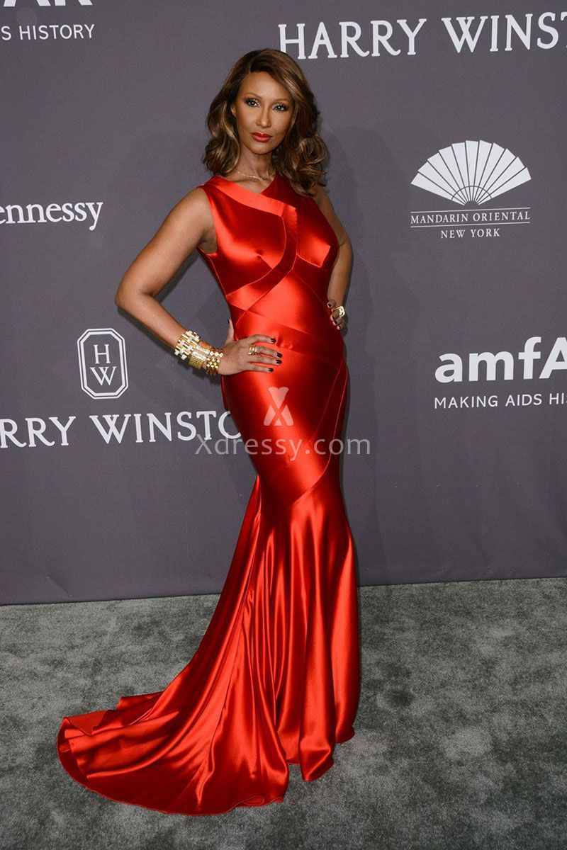 Iman in a splicing red charmeuse sleeveless mermaid long prom dress