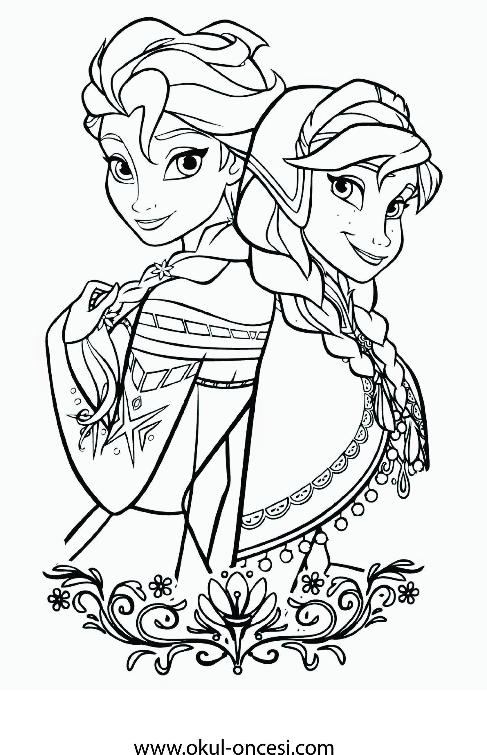 Frozen Anna Elsa Printable Coloring Page Frozen Anna Elsa Boyama Sayfasi 2020