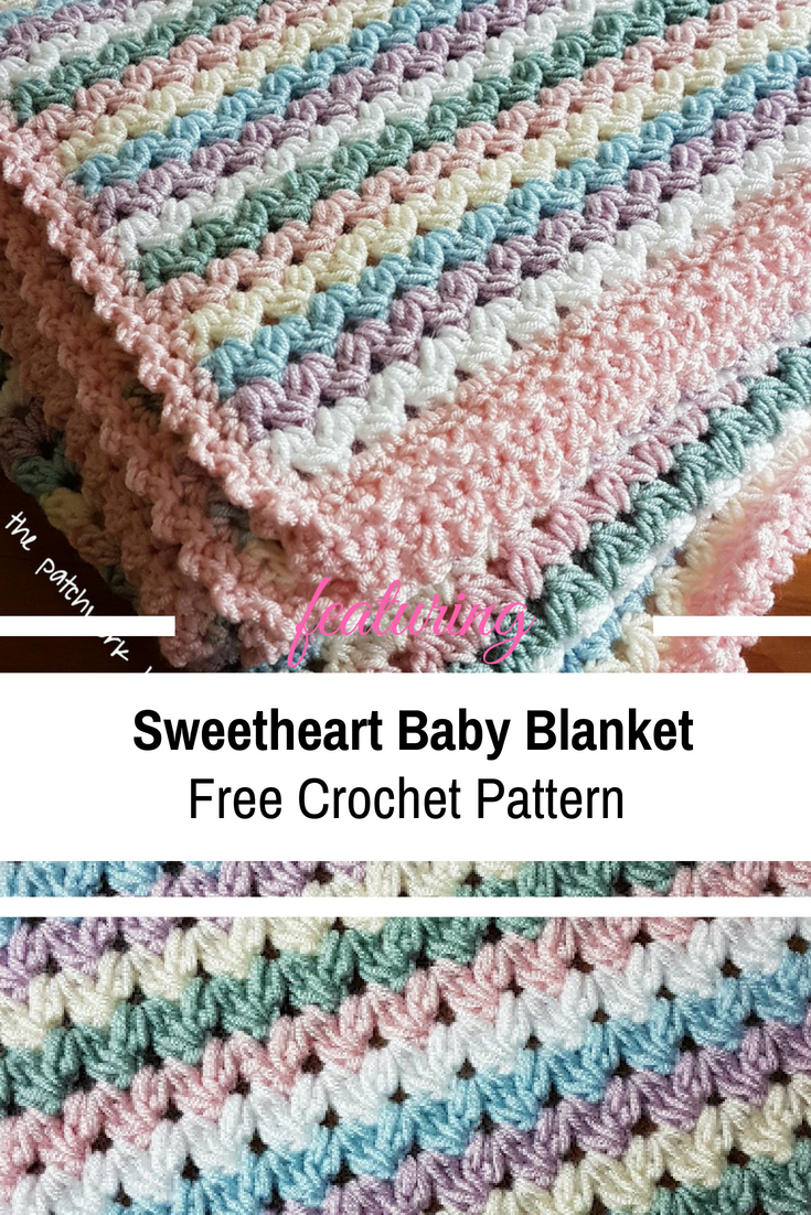 Free Pattern Simple And Easy Sweetheart Baby Blanket Crochet Pattern Knit And Crochet Daily Crochet Baby Blanket Free Pattern Crochet Baby Patterns Crochet Blanket Patterns