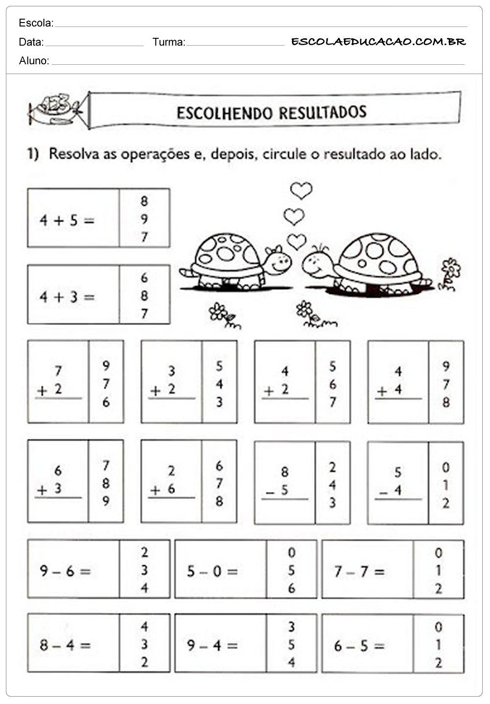 Atividades de Matemática 1º ano - Escolhendo resutlados Mais | Pedro ...