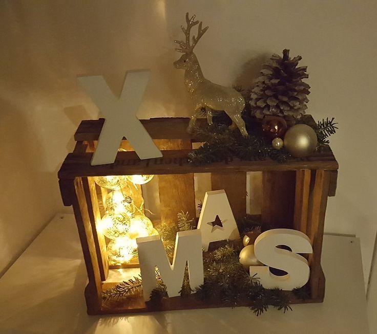X-Mas Weihnachten Deko Weinkiste Holzkiste