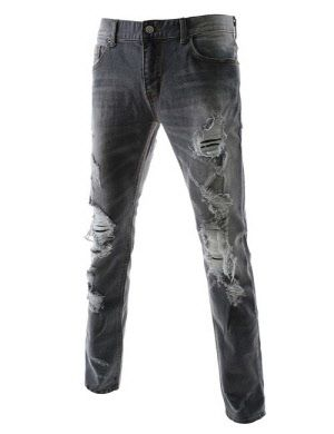 9b124fe03a KEJ1553-GRAY) Thelees Mens Slim Fit Destroyed Stretchy Washing Jeans ...
