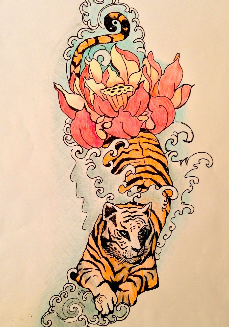 Work In Progressmy Tiger Lotus Flower Tattoo Design Nice