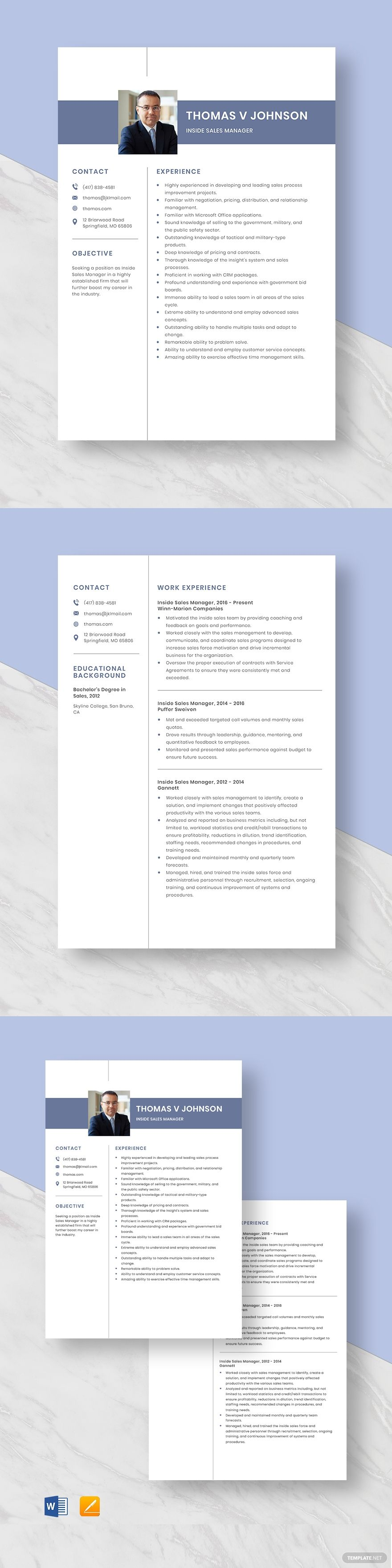 Inside sales manager resume template ad sponsored