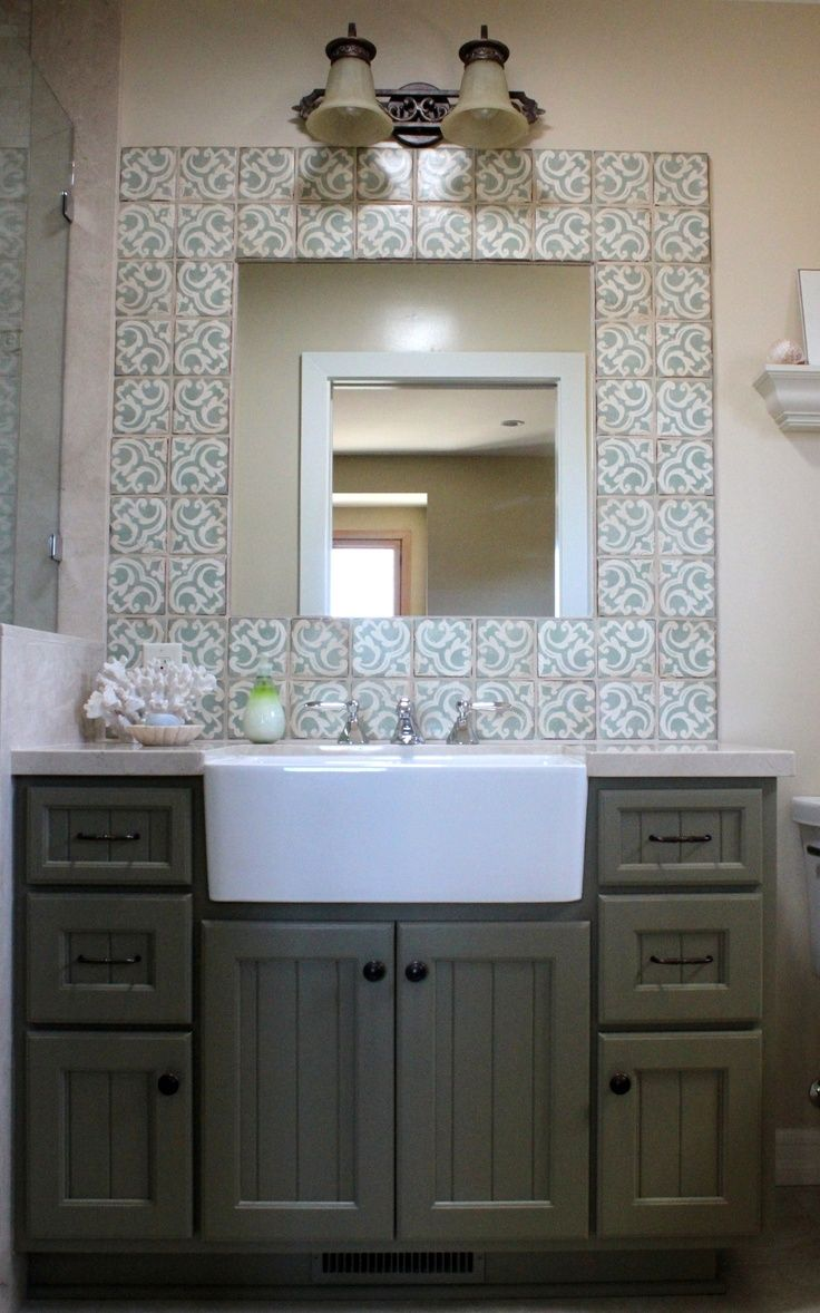 Apron front farmhouse sink to make a utility type sink in - Bathroom vanity with farmhouse sink ...