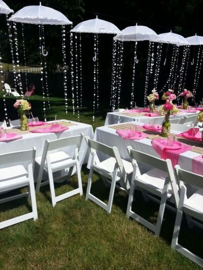umbrella themed bridal shower decorating idea see more bridal shower invitation ideas and party ideas at wwwone stop party ideascom