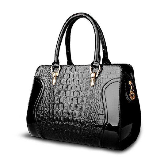 Premium Quality Elegant Black Embossed Croco Zippe