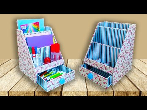 Membuat Rak Buku Ala Kantor Dari Kardus Bekas Easy Organizer Book From Cardboard Youtube Crafts Decorative Boxes Diy