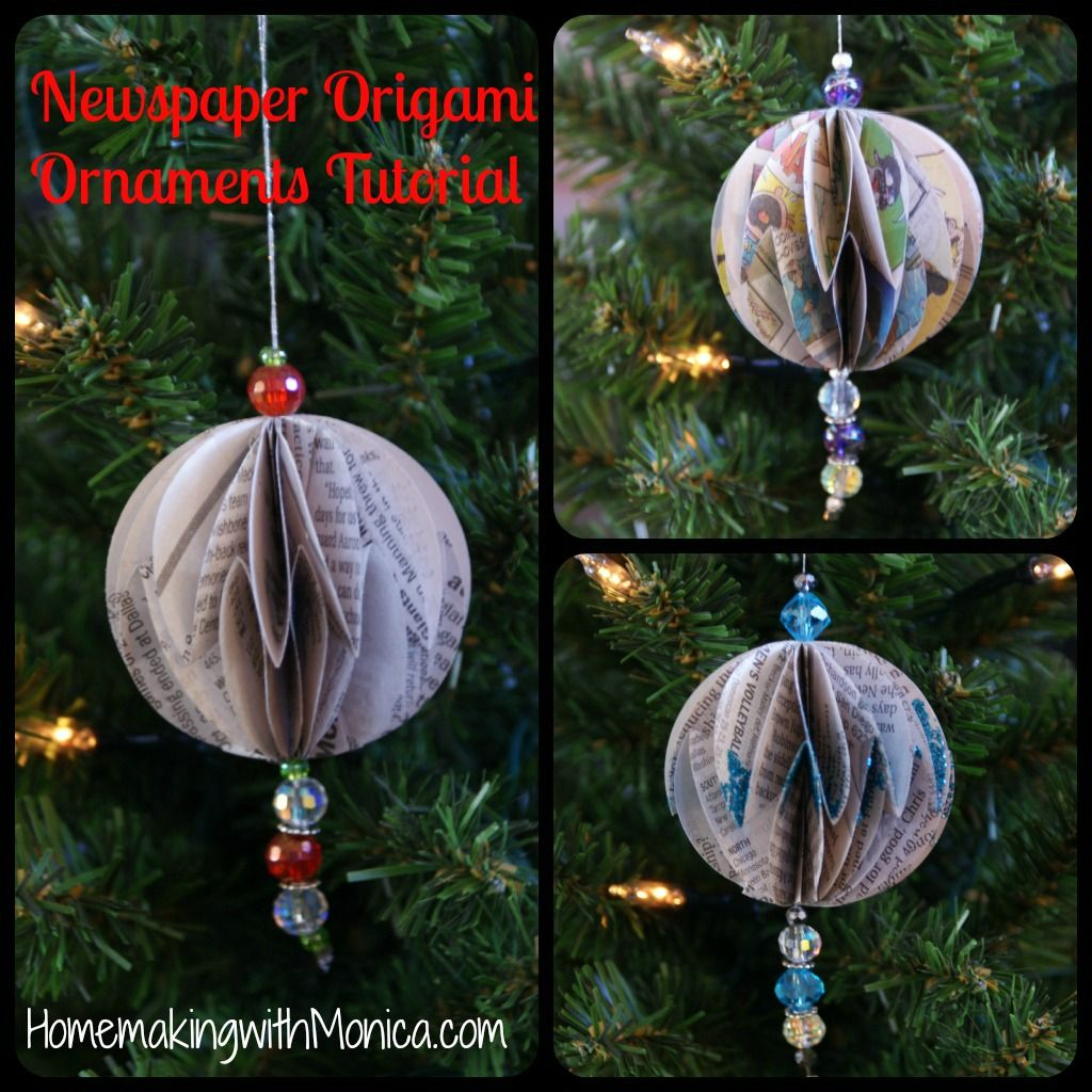 Origami Newspaper Christmas Ornament Tutorial