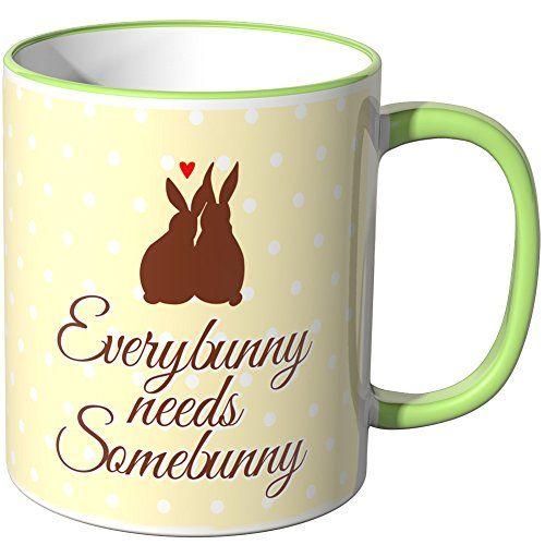 Wandkings Tasse Schriftzug Everybunny Needs Somebunny Mit Verliebtem Hasenparchen Tassen Spruche Tassen Schone Tassen