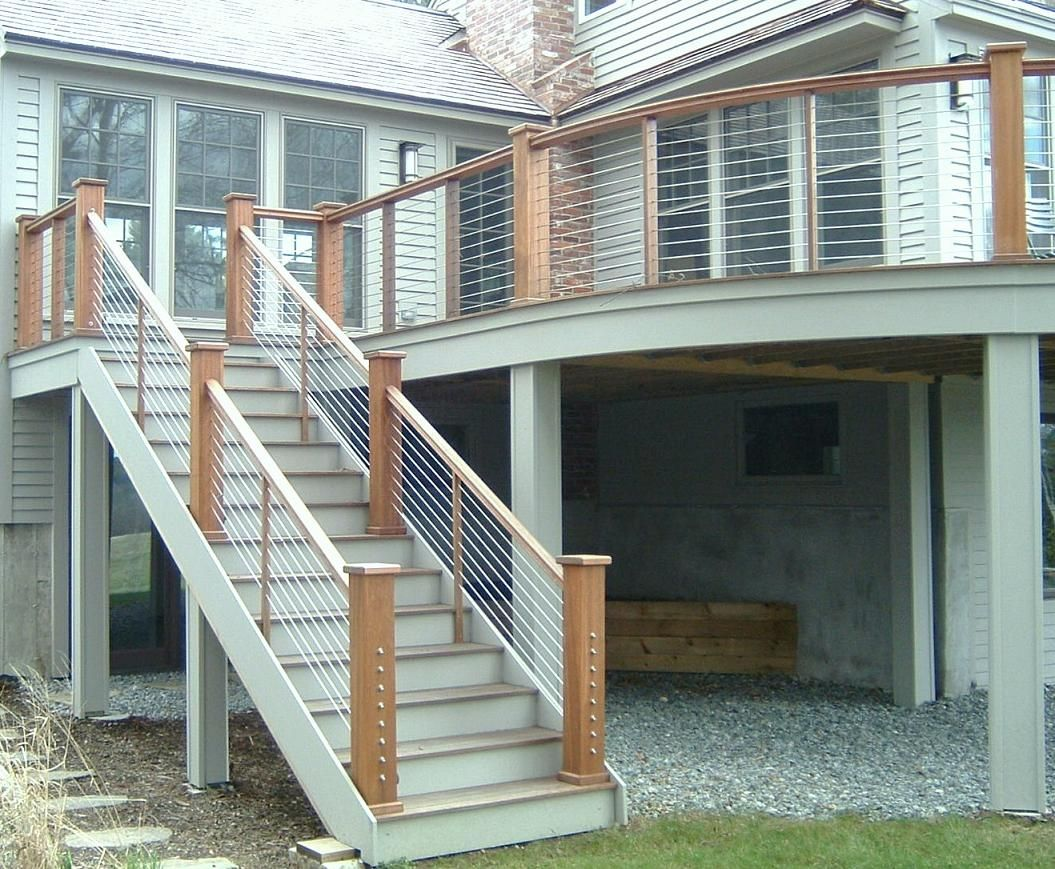 Best Mahogany Deck With Cable Railing Outdoor Stair Railing Deck Railing Design Stair Railing Design 640 x 480
