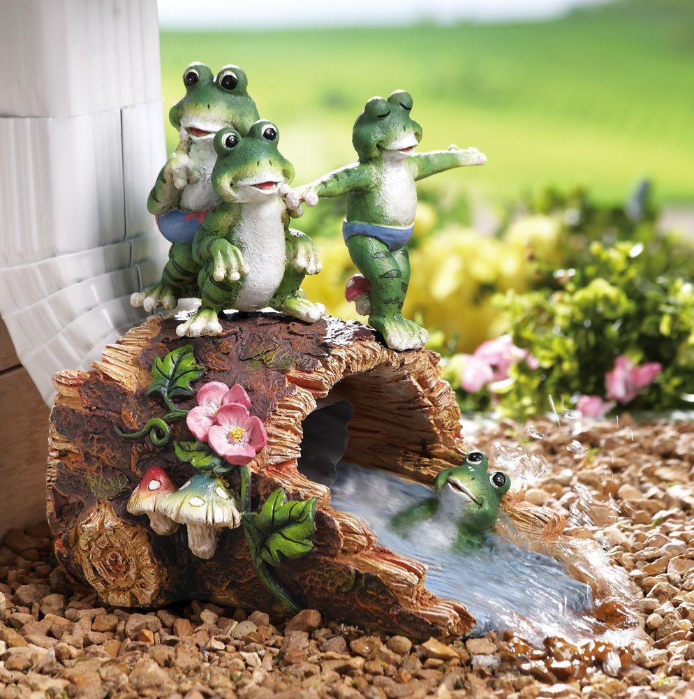 Group of frog children on log decorative garden downspout extension statue gutter splash - Garden log decorations ...