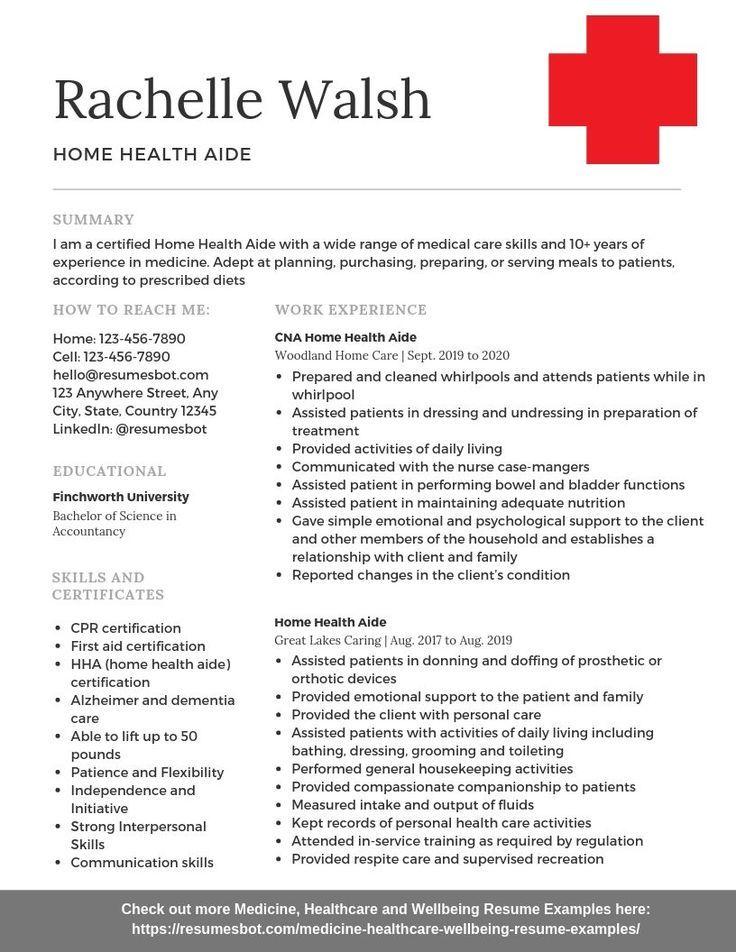Home health aide resume example aide health home
