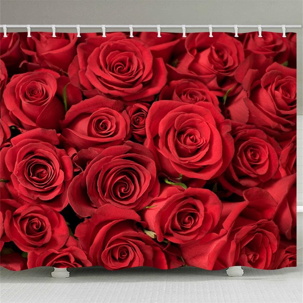 Red Rose Water Proof Polyester 3d Printing Bathroom Shower Curtain