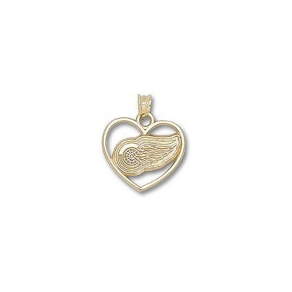 14k Yellow or White Gold Detroit Red Wings Team Logo in Heart NHL... ($190) ❤ liked on Polyvore featuring jewelry, pendants, 14k white gold charms, heart jewellery, heart jewelry, white gold jewellery and charm jewelry