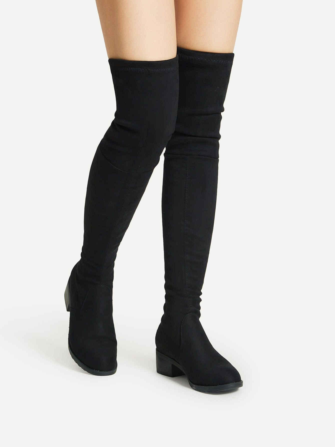 918d19c89f8 Elegant Round Toe OTK/Thigh High No zipper Black Mid Heel Chunky ...