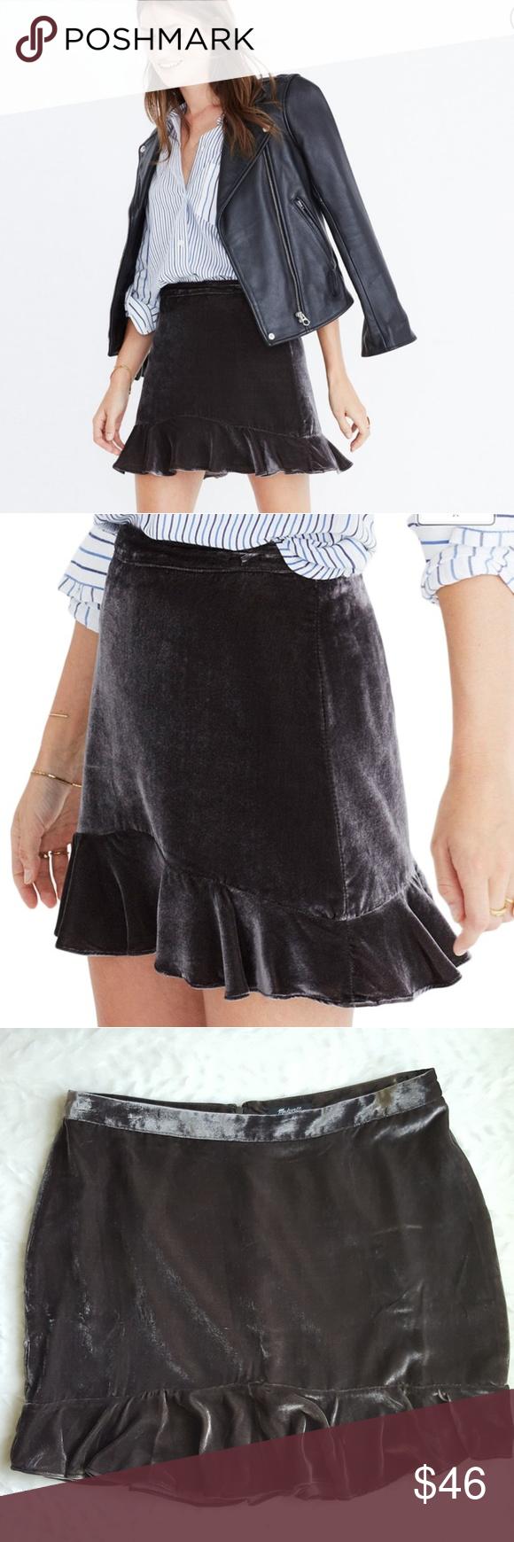 ad87a915a MADEWELL Velvet Ruffle Edge Mini Skirt Dark Metal New! From Madewell: