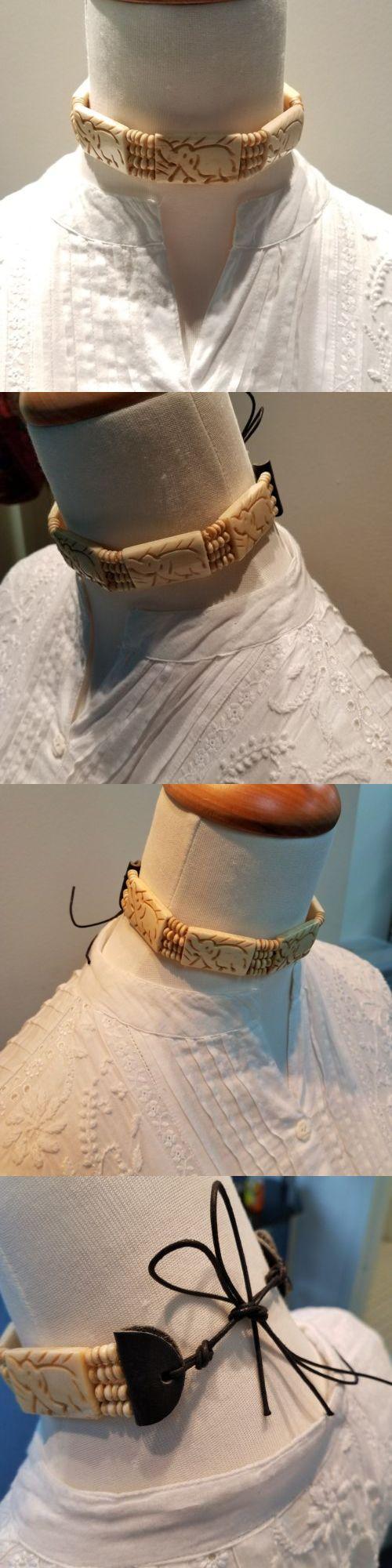 Native american wedding dress  Native American Bone Choker Navajo Jewelry Elephant Pattern Leather