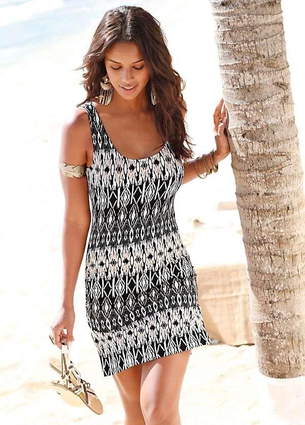 869e41bcf8ce4 Black & Cream Printed Beach Dress by Lascana | Sundresses | Beach ...